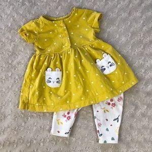 Carter's Mouse Dress Hearts Golden Yellow 3 Months